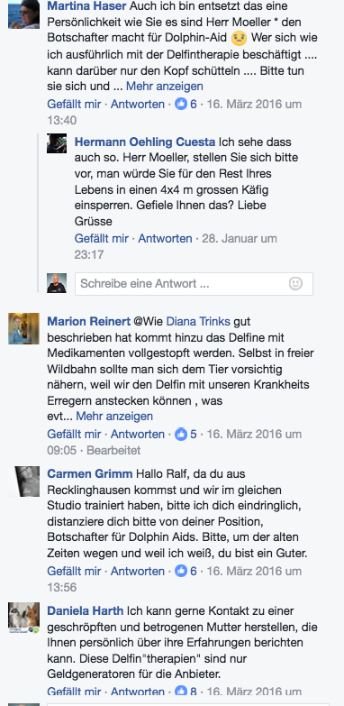 Facebook-Kommentare an Ralf Moeller im März 2016 auf: https://www.facebook.com/RalfMoeller/photos/a.307160502651152.79442.307160382651164/1126796590687535/?type=3&theater